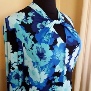 🌸 Blue Floral Sheath Dress